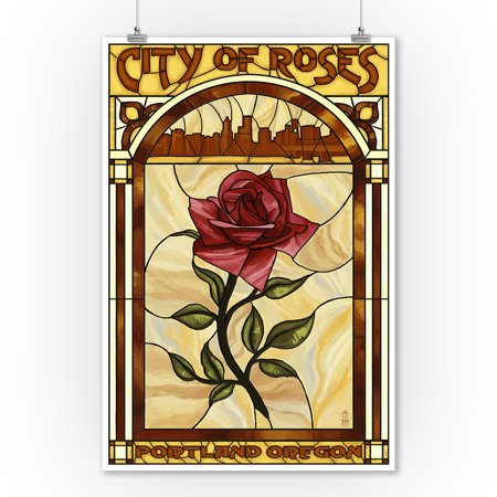 Portland, Oregon - Rose and Skyline Stained Glass - Lantern Press Artwork (9x12 Art Print, Wall Decor Travel Poster)
