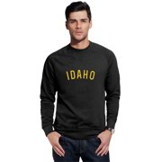 Daxton Idaho Sweatshirt Athletic Fit Pullover Crewneck French Terry Fabric, Black Sweatshirt Gold Letters, L