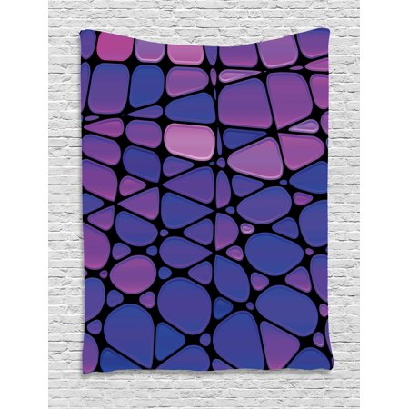 Abstract Tapestry, Contemporary Stained Glass Design with Graphic Drops Mosaic Vibrant Pattern, Wall Hanging for Bedroom Living Room Dorm Decor, 60W X 80L Inches, Purple Pink Black, by Ambesonne