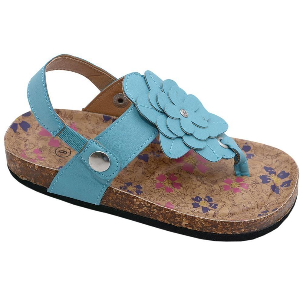 Little Girls Blue Floral Adornment Elastic Insert Thong Sandals 10 Toddler