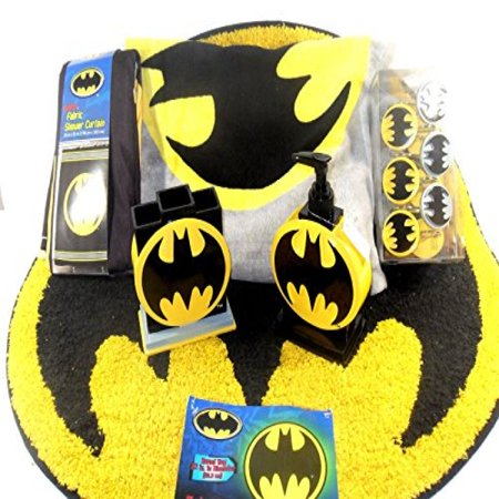 Batman Bathroom Set, Shower Curtain, Hooks, Bath Rug, Bath Towel, Pump Lotion, Toothbrush Holder - Walmart.com
