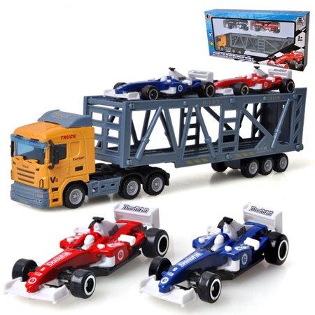 Mini Race Cars (Children 1pc Container Truck Model + 2pcs Mini Race Car Toys Simulation Alloy Car Model Random Color Style:Random)