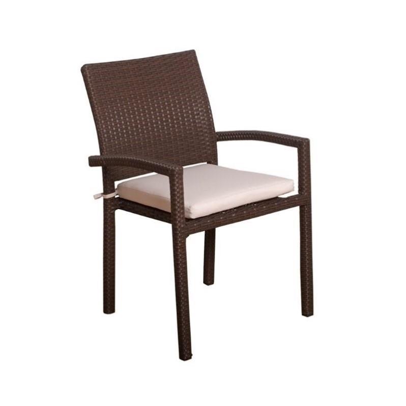 International Home Atlantic 4 Piece Patio Dining Chair in Dark Brown
