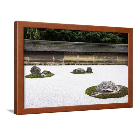 Zen Rock Garden in Ryoanji Temple, Kyoto, Japan Framed Print Wall Art By Sira Anamwong (Ryoanji Temple)