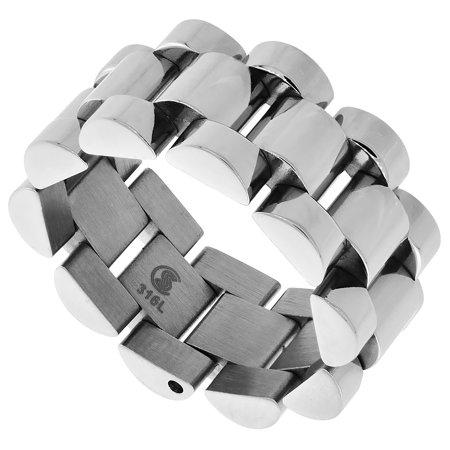 Surgical Steel Rolex Type Ring 10mm Wedding Band Polished Finish, sizes 8 - 13