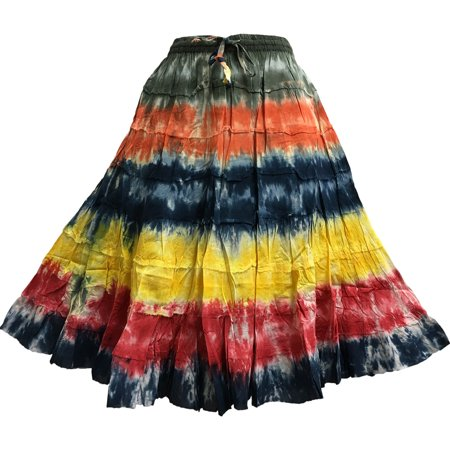 Missy Plus Bohemian Gauze Cotton Tiered Crinkled Broomstick Skirt Ombre Mid Length (#12 Assorted Tie-Dye)