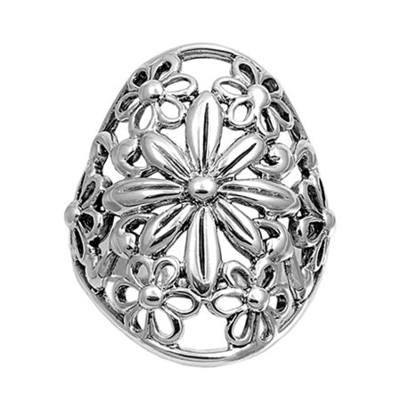 - Wide Filigree Floral Flower Daisy Ring ( Sizes 6 7 8 9 10 ) New .925 Sterling Silver Band Rings (Size 7)