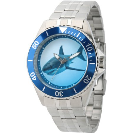 Discovery Channel Shark Week Men's Honor Stainless Steel Watch, Blue Bezel, Stainless Steel Bracelet