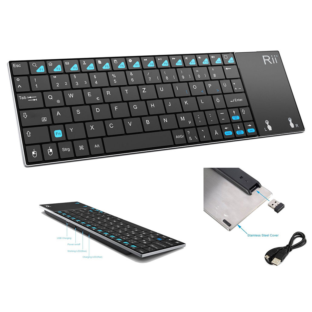 Rii Mini K12 Stainless Steel Cover Wireless Keyboard with Built-in Large Size Touchpad and Rechargable Li-ion Battery