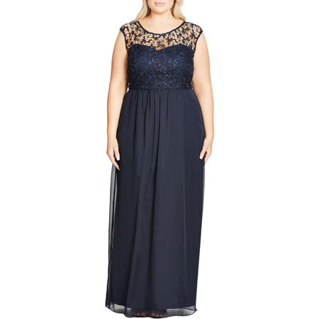 City Chic Womens Plus Sparkle Love Lace Inset Sequined Party Dress