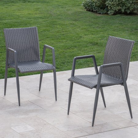 Charles Outdoor Wicker Dining Chairs, Grey ()