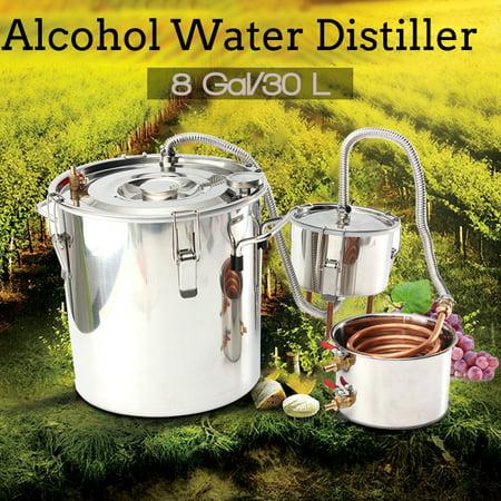 8Gal 30L 20L Distilled Alcohol Beer Wine Water Moonshine Still Stainless Steel Copper Spirits Boiler Distiller Equipment Home Brew Distilling Self-making Healthy Household
