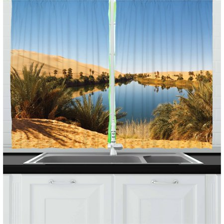 Desert Curtains 2 Panels Set, Idyllic Oasis Awbari Sand Sea Sahara Libya Pond Lush Arid Country, Window Drapes for Living Room Bedroom, 55W X 39L Inches, Pale Blue Green Sand
