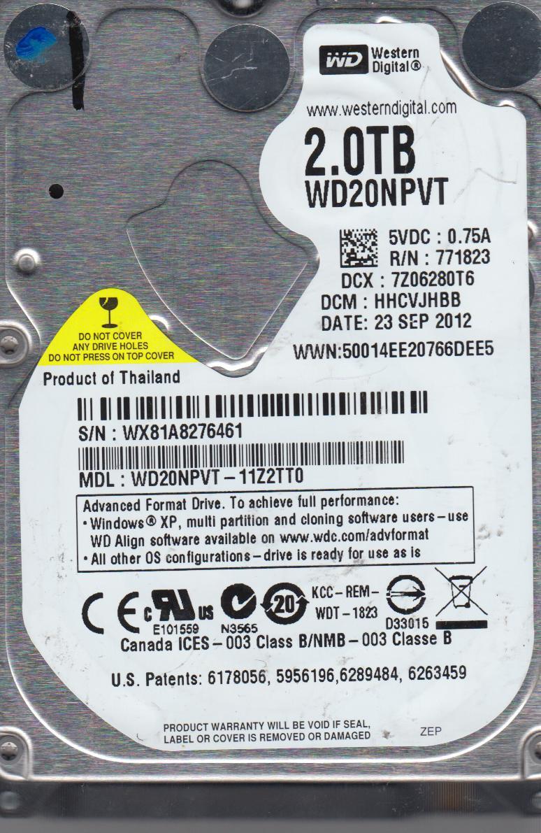 WD20NPVT-11Z2TT0, DCM HHCVJHBB, Western Digital 2TB SATA 2.5 Hard Drive by Western Digital
