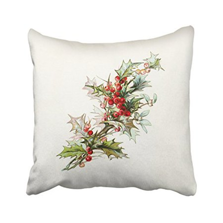 WinHome Merry Christmas Red Cherry And Green Leaves Watercolor Drawing Decorative Pillowcases With Hidden Zipper Decor Cushion Covers Two Sides 18x18 inches