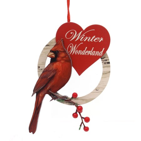 Holiday Ornaments WOODEN CARDINAL Wood Male Female Berries for $<!---->