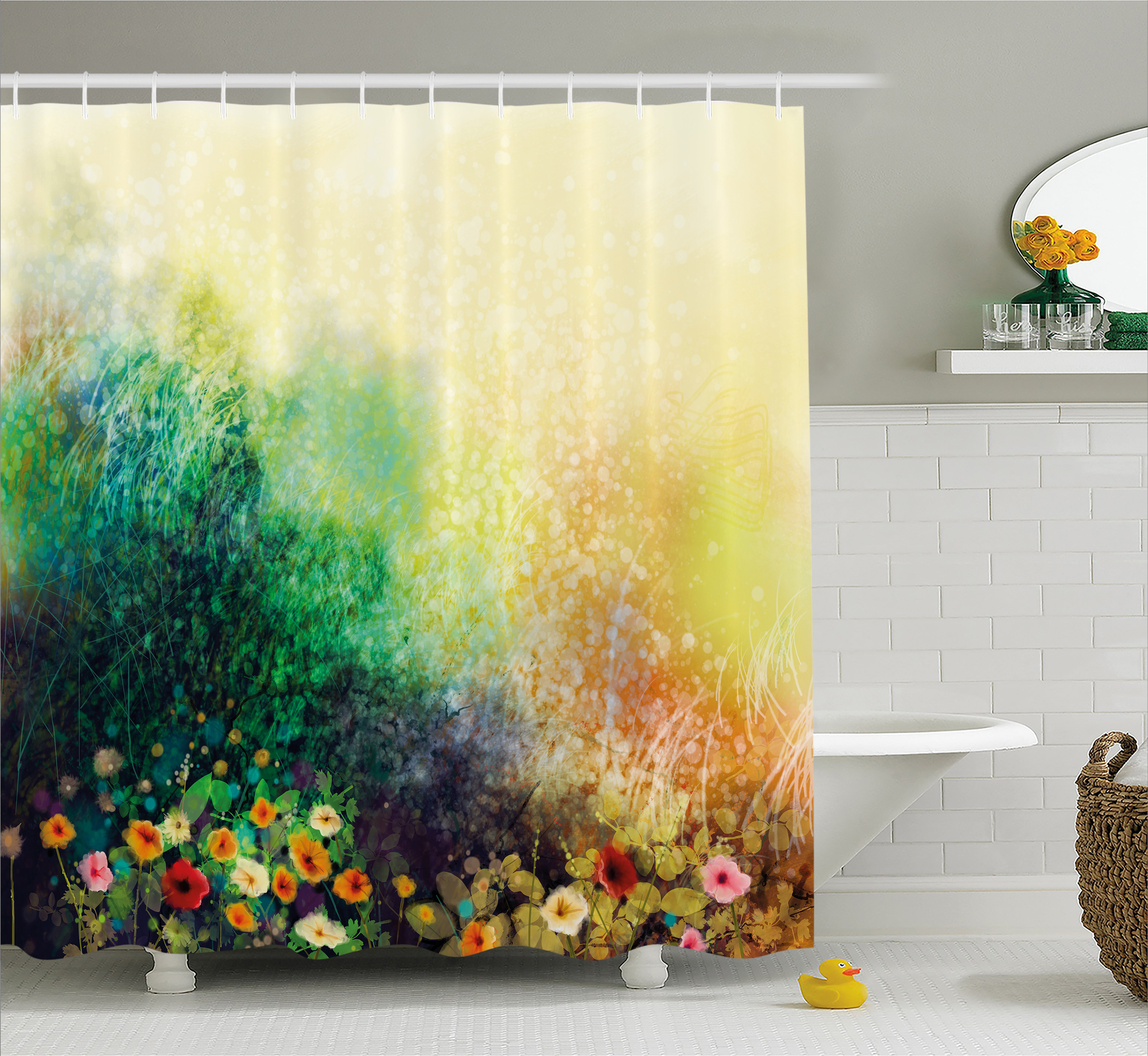 Watercolor Flower Home Decor Shower Curtain, Flower Bed on Valley in Fall with Shady Faded Murky Print, Fabric Bathroom Set with Hooks, 69W X 84L Inches Extra Long, Green Mustard, by Ambesonne