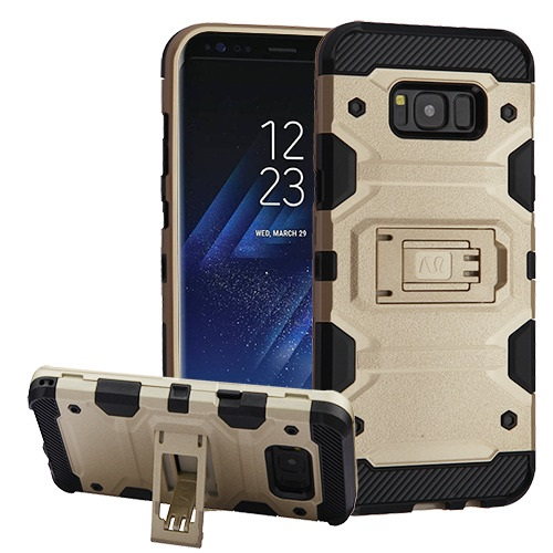 MUNDAZE Gold Defense Double Layered Case For Samsung Galaxy S8 Phone