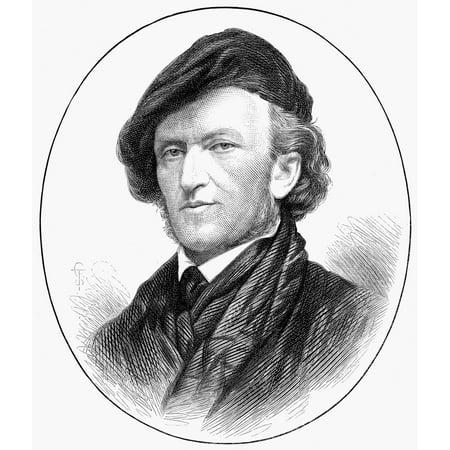 Richard Wagner (1813-1883) Ngerman Composer Wood Engraving English 1876 Rolled Canvas Art -  (18 x