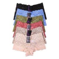 6 Pack of Women Hipster Panties Floral Lace Boyshorts Cheeky Underwear Bikini