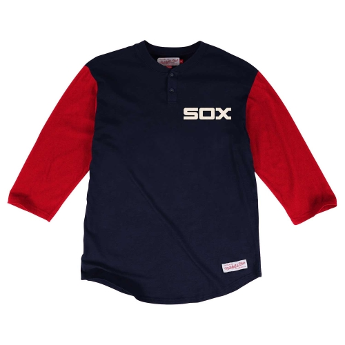 Men's Mitchell & Ness Navy/Red Chicago White Sox In The Clutch Henley Three-Quarter Length T-Shirt