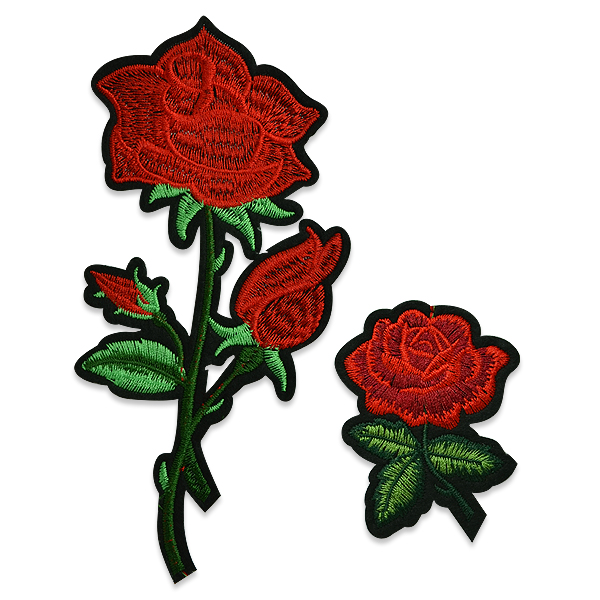 Expo Red Rose Flower Embroidered Iron On Patch - 2 Pack
