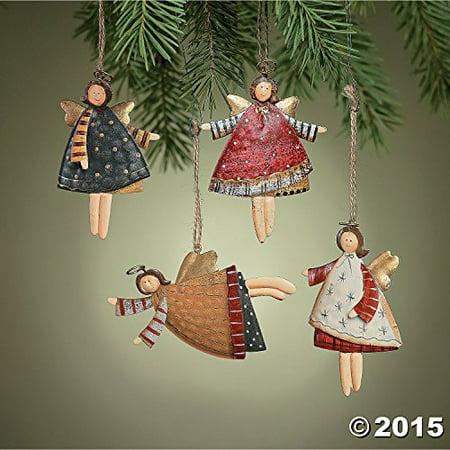 Angel Ornaments For Christmas Tree (Lot of 12 Dancing Tin Angels Christmas Tree)