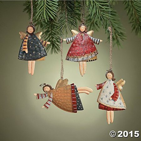 Three Angels Ornament - Lot of 12 Dancing Tin Angels Christmas Tree Ornaments