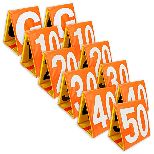 Crown Sporting Goods Day & Night Football Yard Markers, Full Set of 11