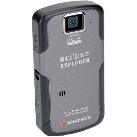 Agfaphoto eClipse Explorer HD Camcorder with Waterproof HD Recording, 4 x Optical Zoom and 2.5-Inch LCD