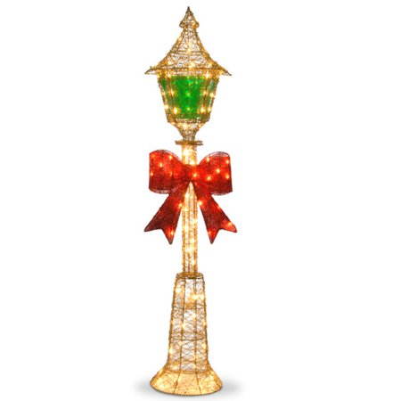 National tree 60 gold wire lamp post with green pvc film for Christmas decorations for outside lamp post