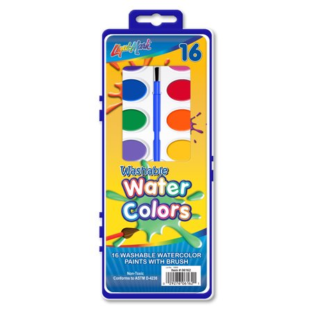16-Count Washable Watercolor Paints with Brush Case Pack of 72 (Paint Case Pack)