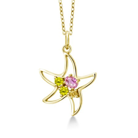 0.38 Ct Oval Pink Sapphire Canary Diamond 18K Yellow Gold Plated Silver Necklace 18k Yellow Gold Pin