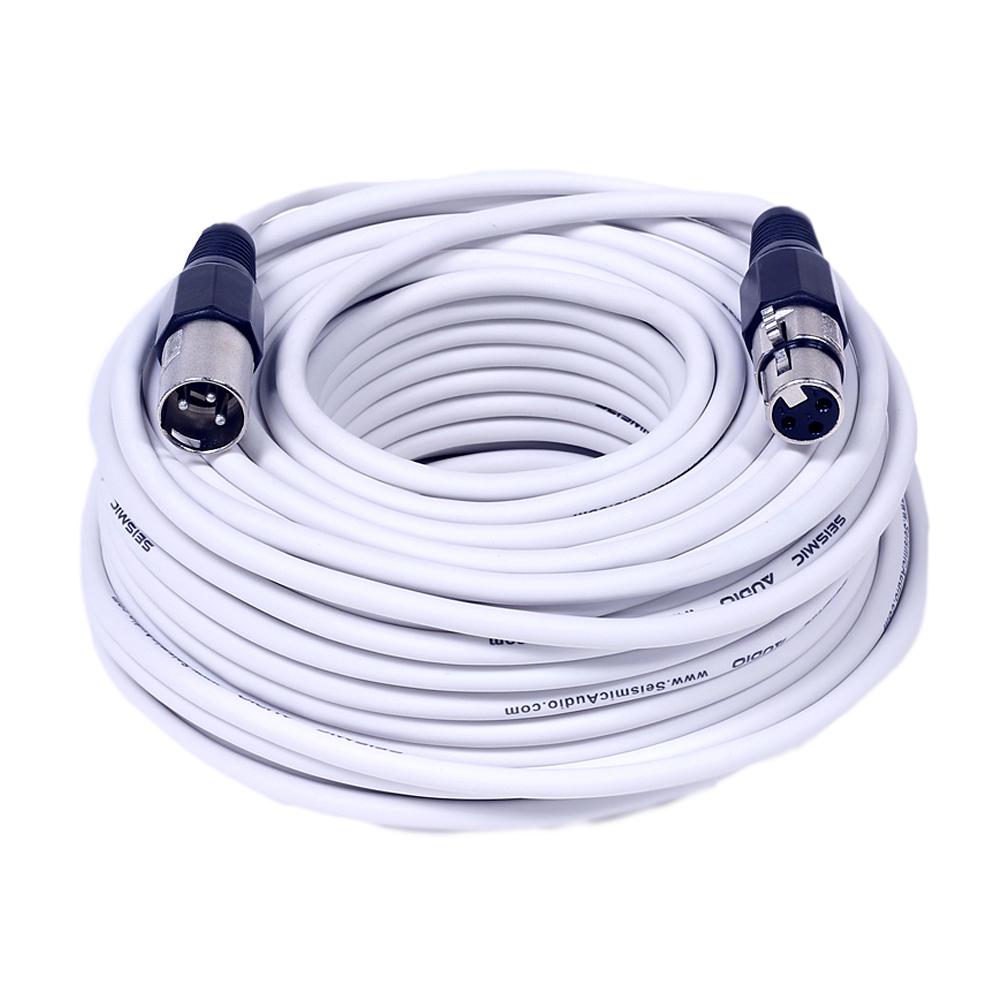 Seismic Audio  - White 100 Foot XLR Microphone Cable - 100' Microphone Cord Mic - SAXLX-100White