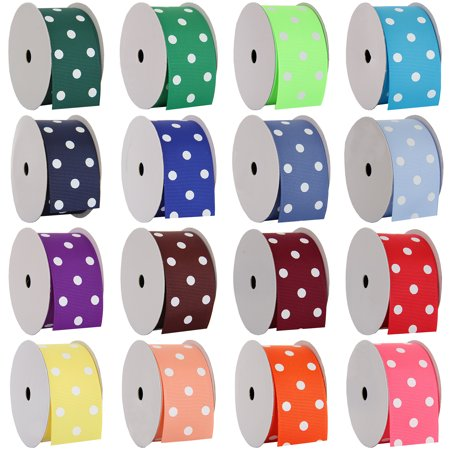 "Threadart Grosgrain Dots Ribbon - 1 1/2"" Width - 5 Yards - 19 Colors"