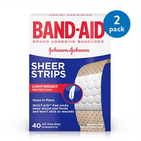 (2 Pack) Band-Aid Brand Sheer Strips Adhesive Bandages, All One Size, 40 ct