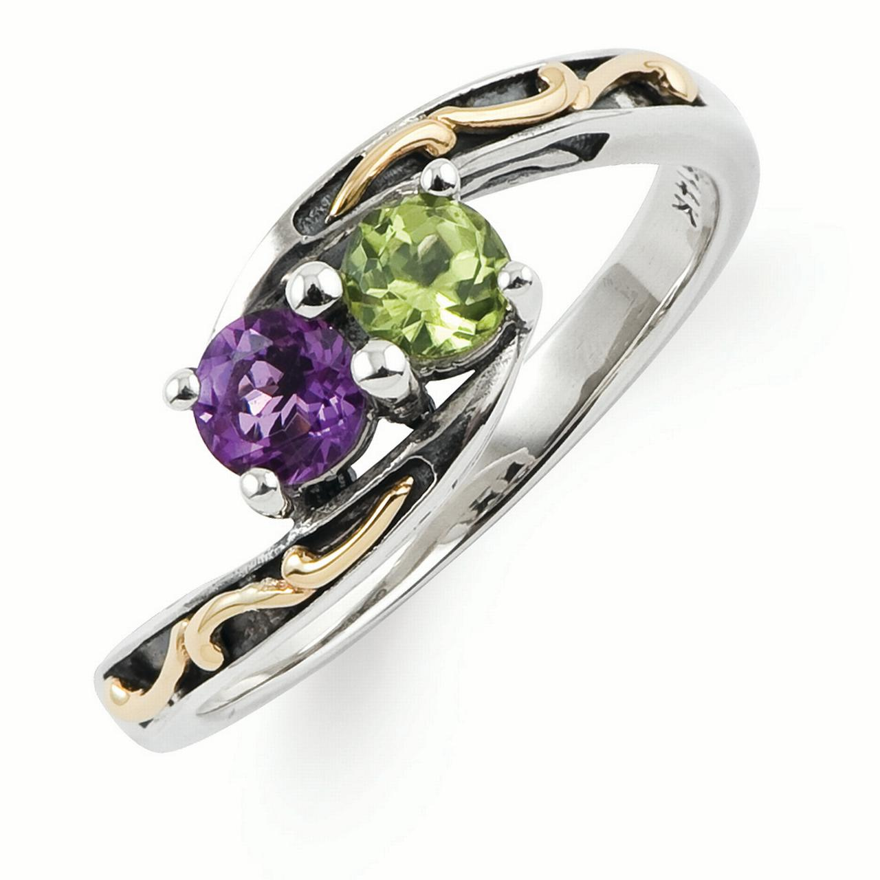 Sterling Silver & 14k Two-stone Mother's Ring Mounting
