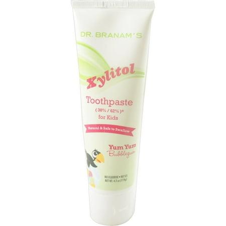 4 Pack - Branam Santé bucco-dentaire Xylitol Toothpaste pour les enfants, Miam miam Bubblegum, 4,2 oz