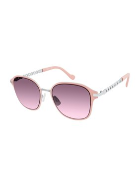 Jessica Simpson Women's Round Metal Sunglasses with Spiral Temple Design & 100% UV Protection, 65 mm