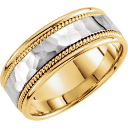 - 14kt Yellow & White 8mm Hammered Hand-Woven Band Size 10 51296 / 14Kt Yellow/White / 10 / 8 Mm Two Tone Hand Woven Band