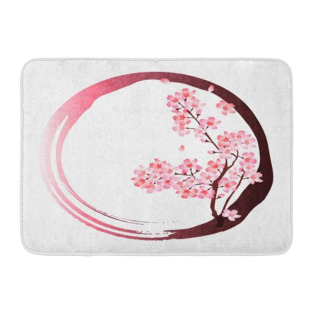 GODPOK Cute Pink Blossom Cherry Spring Circle Tree Petal Rug Doormat Bath Mat 23.6x15.7 (Cherry Blossom Circle)
