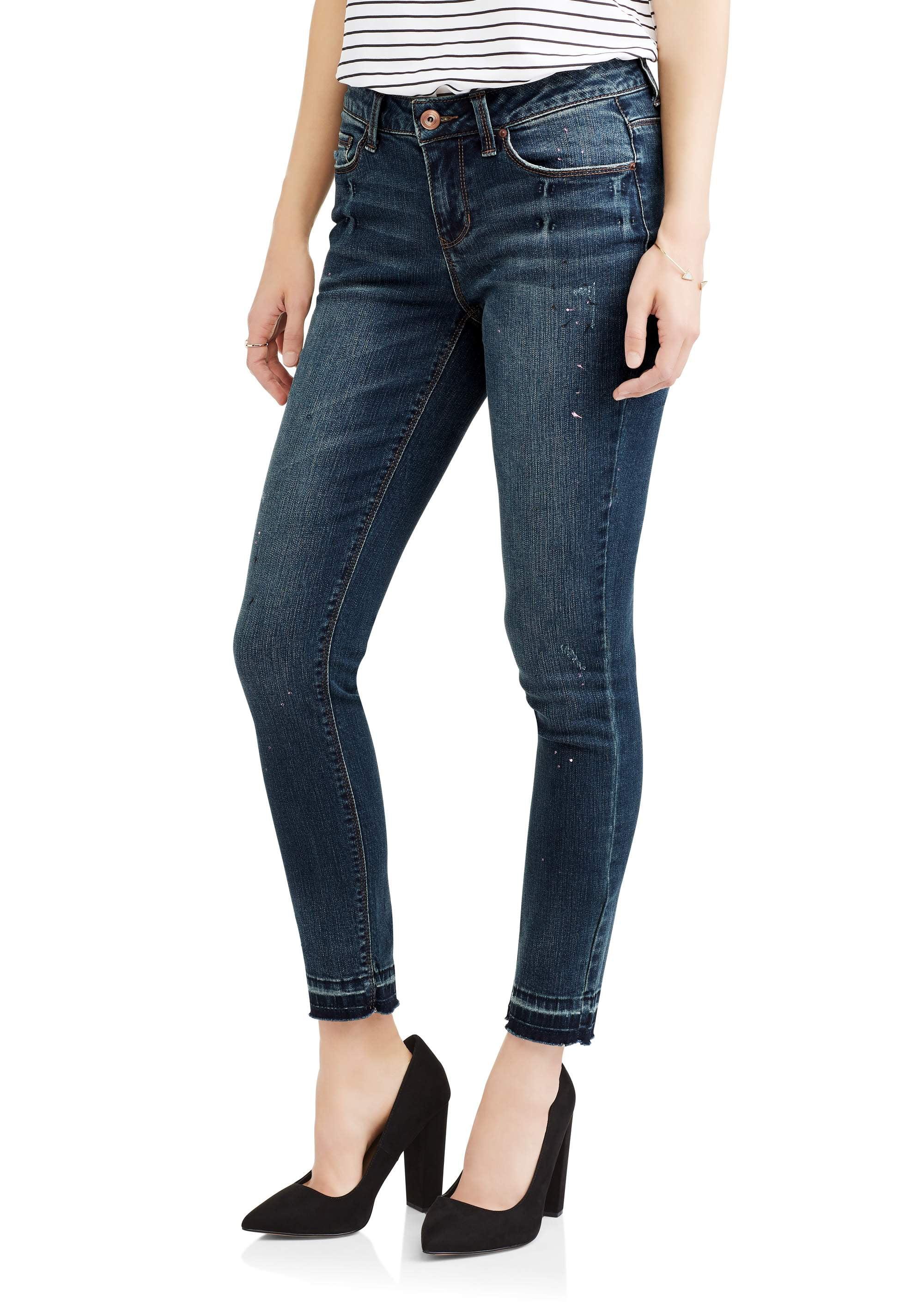 Faded Glory Women's Paint Splattered Skinny Jeans with Release Hem