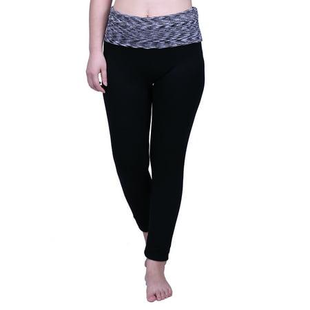 HDE Women's Maternity Yoga Pants Stretch Pregnancy Leggings Fold Over Waistband (Black Grey Space Dye, Medium) ()