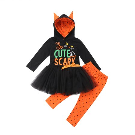 Toddler Kids Baby Boy Girls Princess Halloween Clothes Scary Hooded Top Tutu Dress+Pants 2pcs Outfits Set Cosplay Costume (Baby Clothes Halloween)
