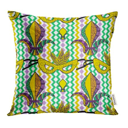 EREHome Green Brazil Mardi Gras Colorful Carnival Mask Fleur De Lis Purple Color Pillowcase Cushion Cover 18x18 inch - image 1 de 1
