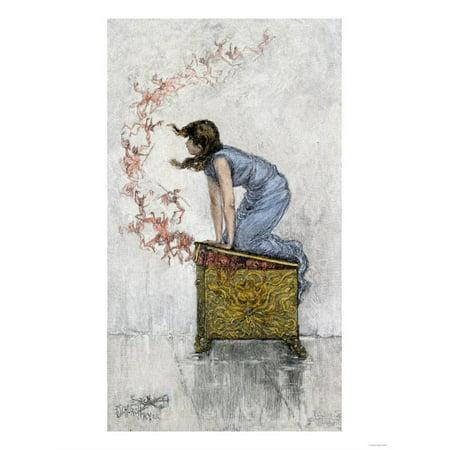 Pandora Art (Pandora Atop the Opened Box of Evils Print Wall Art )