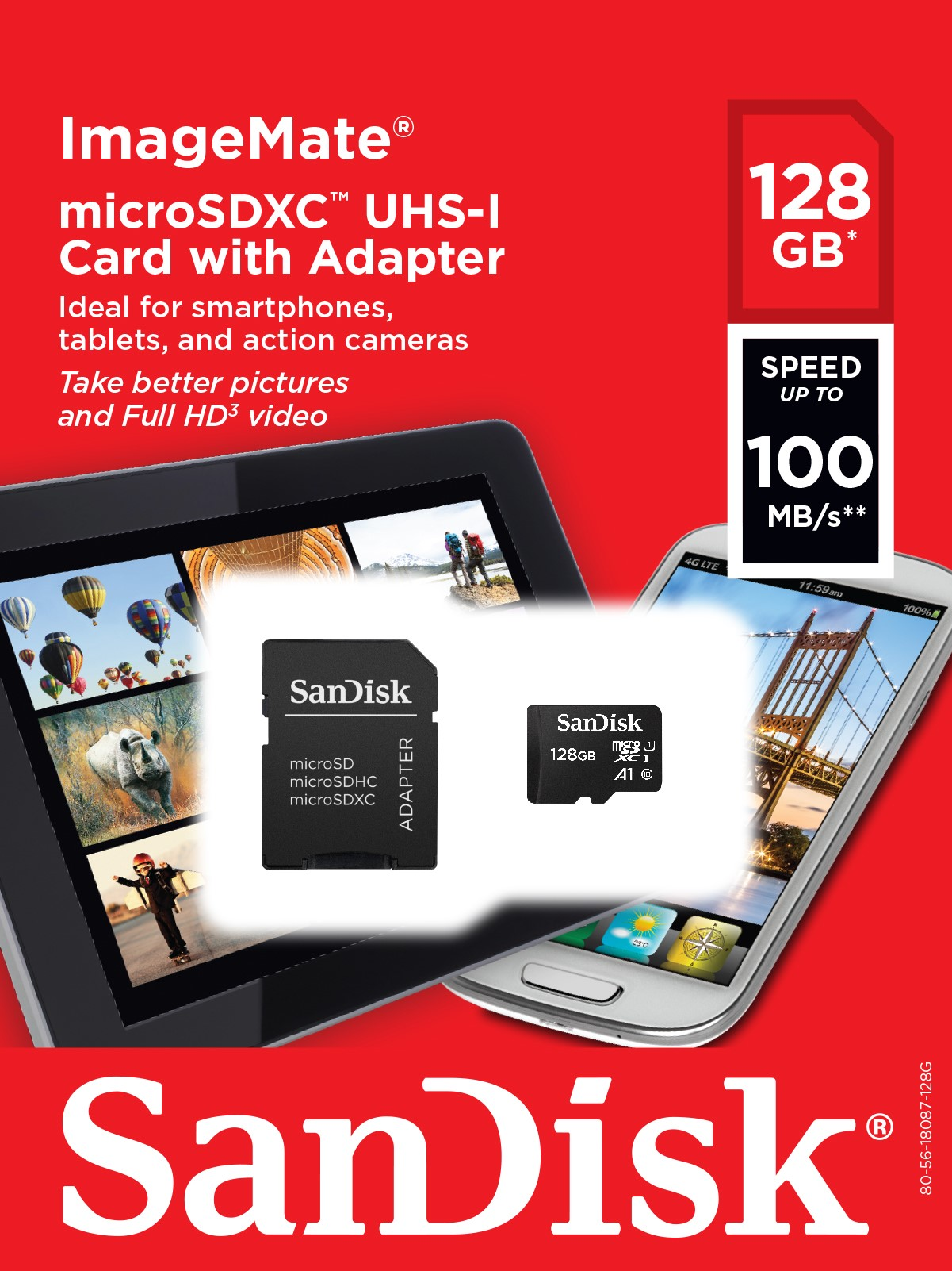 100MBs A1 U1 C10 Works with SanDisk SanDisk Ultra 128GB MicroSDXC Verified for Asus Zenfone 2 Laser 6-inch by SanFlash