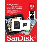 SanDisk 128GB ImageMate microSDXC UHS-1 Memory Card with Adapter - C10, U1, Full HD, A1 Micro SD Card