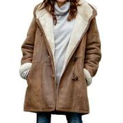 Women's Plus Size Warm Fleece Coat Hooded Long Sleeve Loose Jacket Overcoat