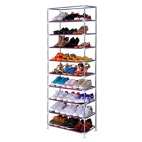 Ktaxon 10 Tier Portable Shoe Rack Shelf Storage Closet Organizer Cabinet with Cover